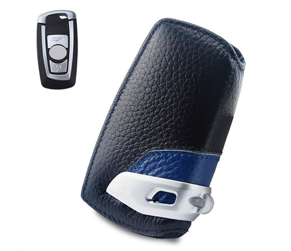 Negro Happyit Caso Elegante de la Cubierta de la llave del Cuero Genuino del Coche para BMW F10 F20 F30 NUEVO 1 2 3 4 5 6 7 Serie X3 X4 320I 116I 118I 328I 530I Accesorios Teledirigidos