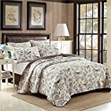 queen quilt birds - Newrara Birds Printing Comforter Sets, American Country Quilt Set/ Bedspread set,Beige ,Queen, 3Pcs