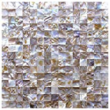 """Art3d Peel and Stick Mother of Pearl Shell Tile for Kitchen Backsplashes, 12"""" x 12"""" Colorful (6 Pack)"""