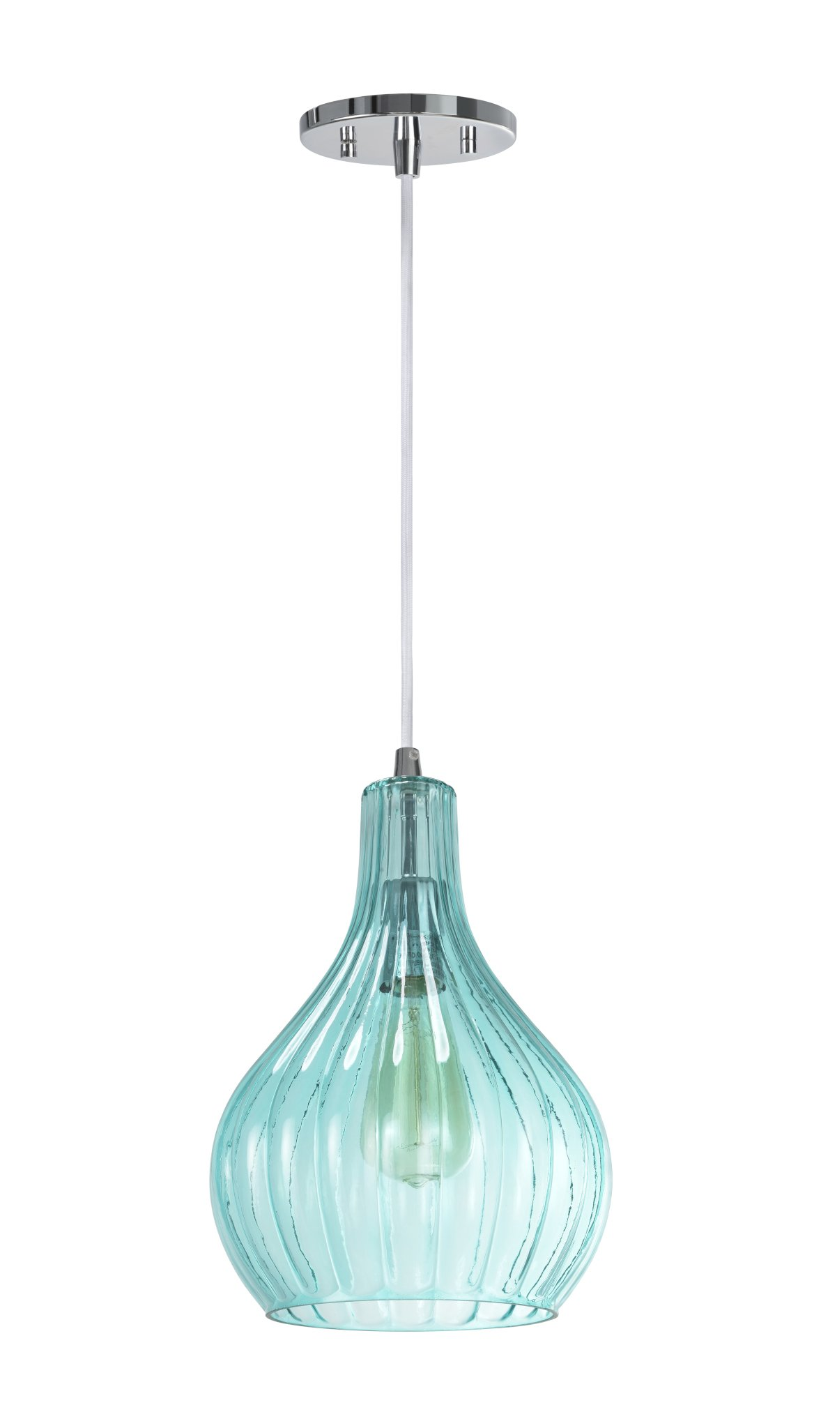 Aspen Creative 61039-1 Adjustable 1 Light Mini Pendant Ceiling Light, Transitional Design in Chrome Finish, Surf Green Glass Shade, 8 5/8'' Wide by Aspen Creative
