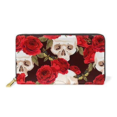 e4b270b065 Womens Skulls And Beautiful Red Roses RFID Blocking PU Leather Zip ...