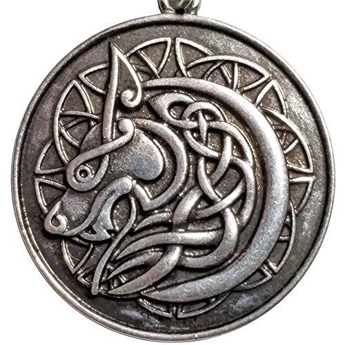 Celtic Wolf Pendant Necklace