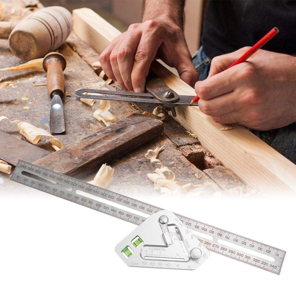 Triangular Level Ruler-Multi-function Stainless Steel Woodworking Combination Square Angle Triangular Level Ruler