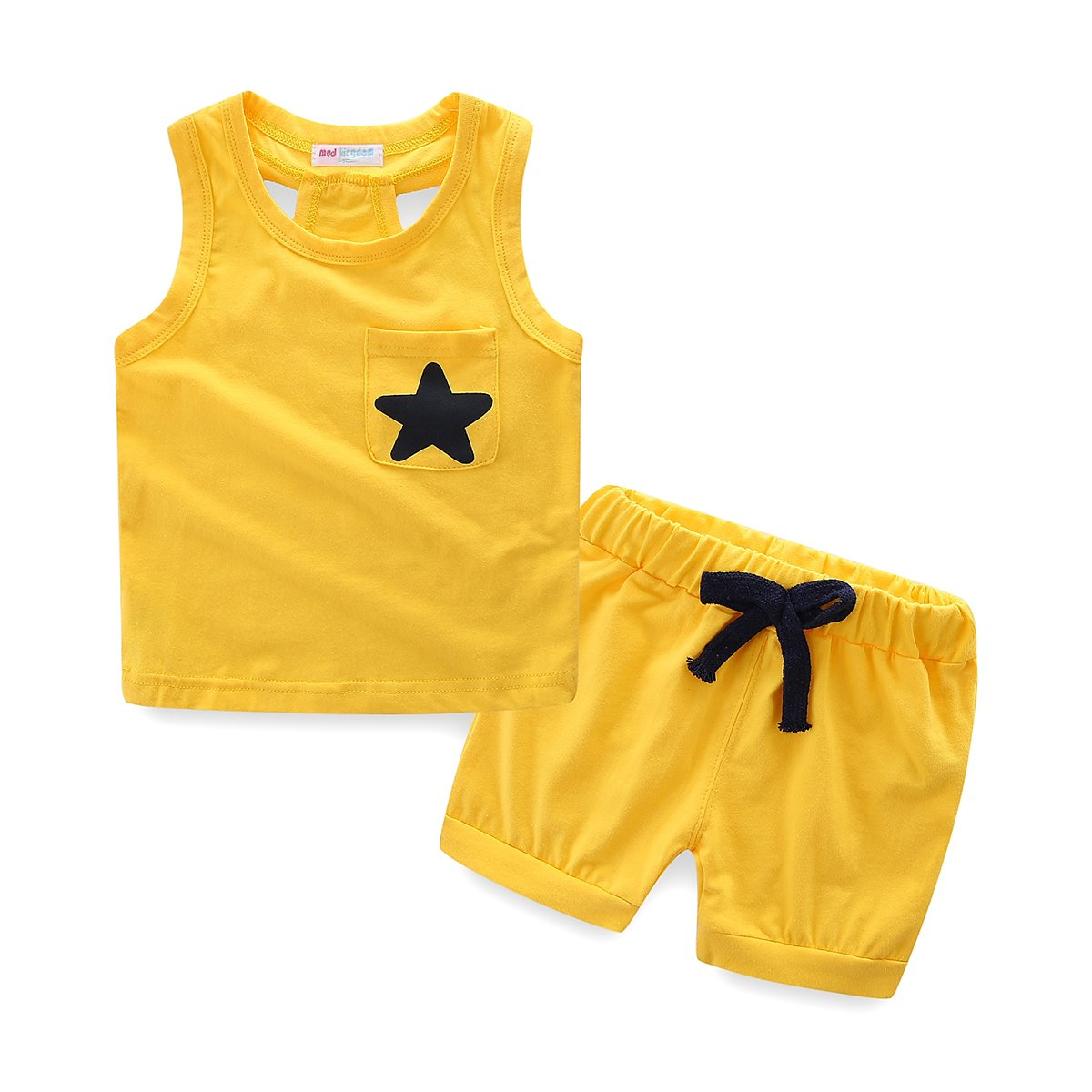 Mud Kingdom Little Boys Summer Clothes Sets Cute Tank Tops Shorts Outfits Star 3T Yellow