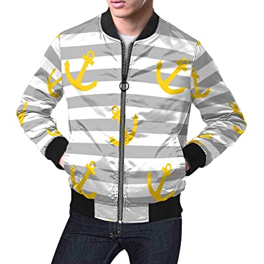 e4f664519 INTERESTPRINT Men's Tile Sailor Pattern with Yellow Anchor on Grey and  White Stripes Background Lightweight Jacket