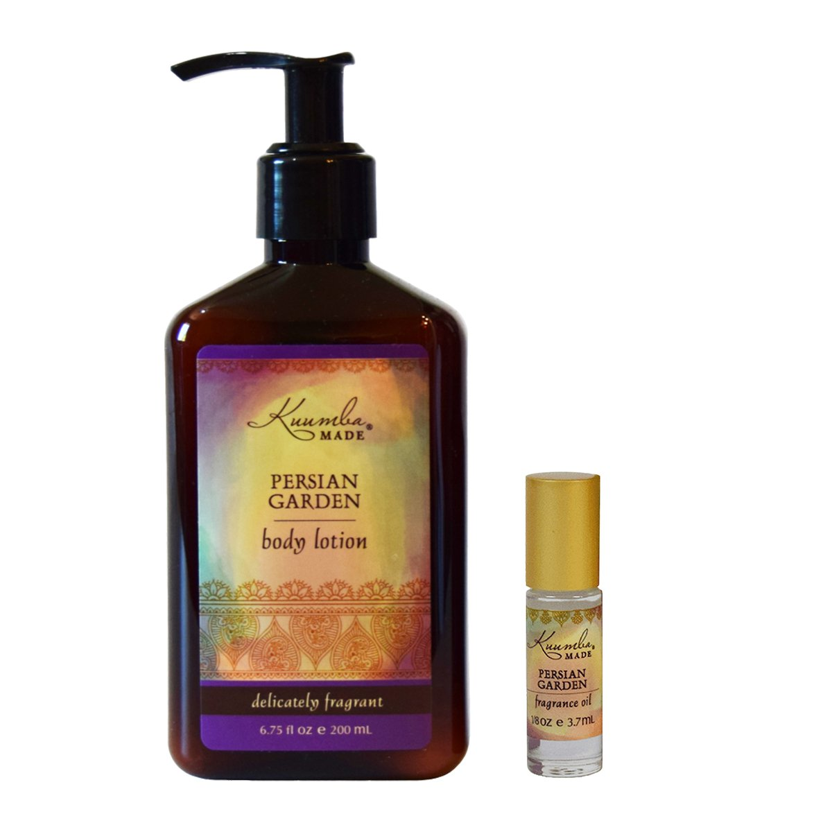 Kuumba Made Fragrance Gift Set, One Persian Garden 1/8oz Fragrance oil with roll on applicator and One Persian Garden Lotion 6oz