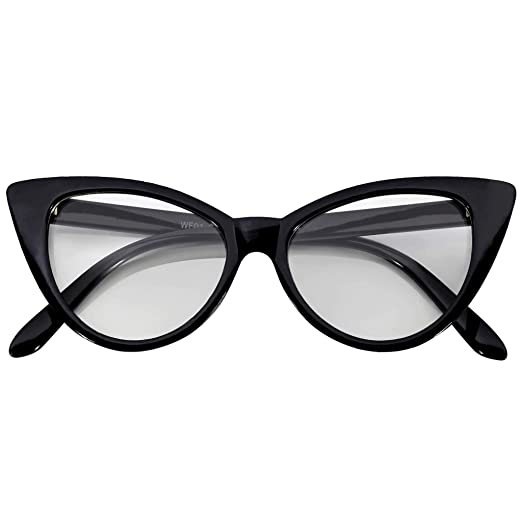 2abb9f6a3a OWL Cateye Glasses for Women Vintage Retro 1950 s Shades Black Frame Clear  Lens