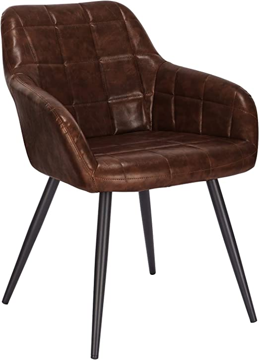 WOLTU Dining Chairs Set of 2 pcs Table Chairs Kitchen Lounge Leisure Living Room Accent Corner Chairs Armchairs Faux Leather Brown Reception Chairs with Backrest /& Armrests