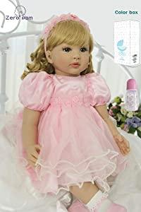 "Zero Pam Reborn Toddler 24"" Real Life Reborn Baby Dolls Silicone Bebe Vinyl Weighted Reborn Baby Girl with Blonde Hair&Pink Princess Skirt(Passed EN71)"