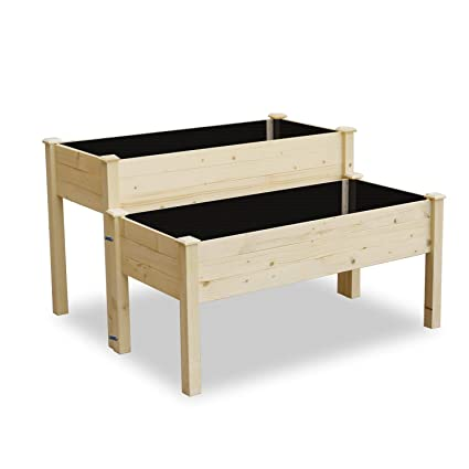 Brilliant Lynslim Wooden 2 Tiers Elevated Raised Garden Bed Planter Box For Flower Vegetable Grow Natural Cedar Wood Frame Gardening Planting Bed Easy Assembly Gmtry Best Dining Table And Chair Ideas Images Gmtryco