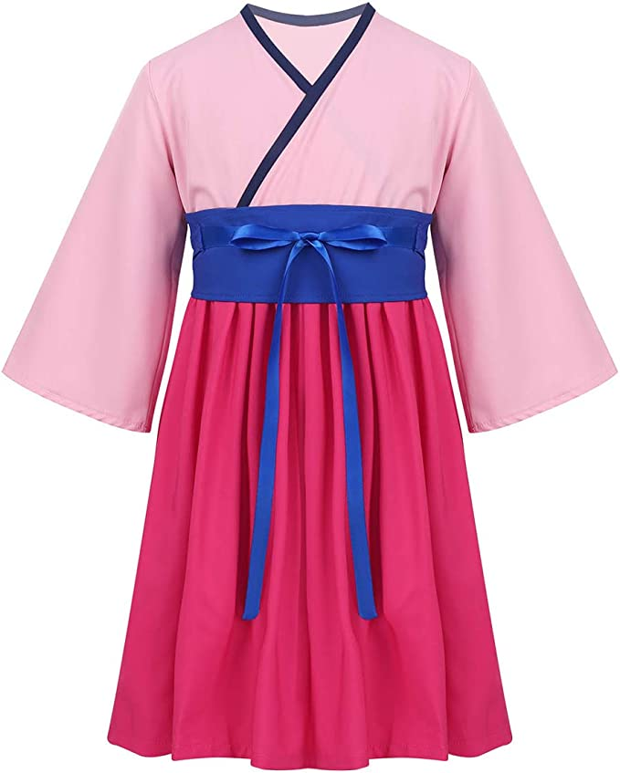 IEFIEL Disfraz Hua Mulan para niña Disfraz Cosplay Anime Vestido ...