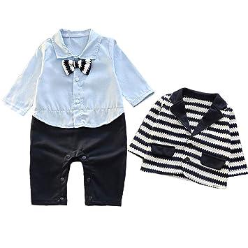 57e1fe757c257 COCO1YA(ココイチヤ) ベビー 新生児 ロンパース セットアップ 男の子 フォーマル 赤ちゃん スーツ 縞模様 春 秋