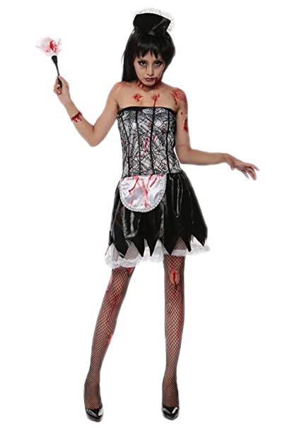 ed49afa206a Amazon.com: JJ-GOGO French Maid Costume Adult - Halloween Fancy ...