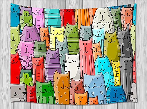 HNMQ NYMB Cartoon Cat Lover Tapestry, Funny Animals Kitten Decor for Kids Tapestry Wall Hanging, Large Wall Blankets Tapestry for Bedroom Living Room Dorm Beach Towel TV Backdrop, 71X60 in