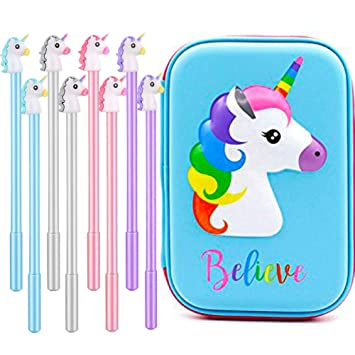 Estuche de lápices de unicornio con diseño de unicornio y bolígrafos de unicornio coloridos, bolsa