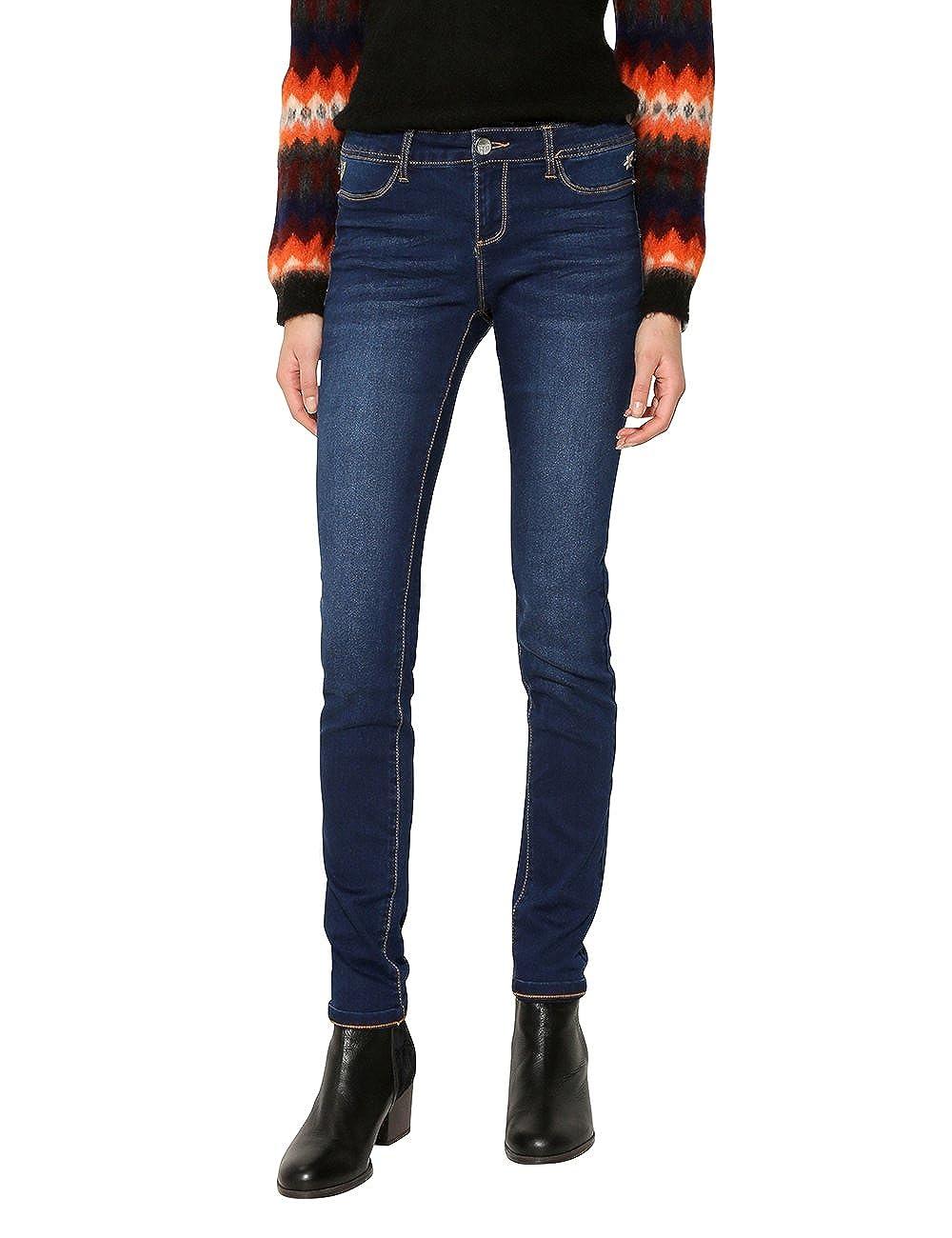 TALLA W29. Desigual Denim_Second Skin Jeans Ajustados para Mujer