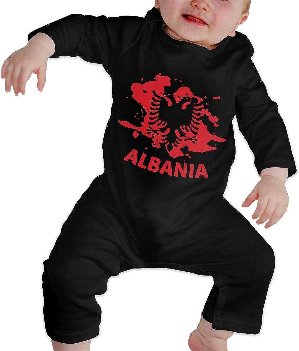 BKNGDG8Q Newborn Baby Boy Girl Romper Jumpsuit Albanian Flag Albania Organic One-Piece Kid Pajamas Clothes