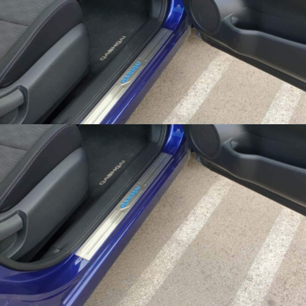 for Nissan Qashqai J11 r 2015-2018 Protector Car Styling Tread Accessories Pedal Decoration Stickers,Blue GLFDYC 4Pcs Stainless Steel Door Sill Scuff Kick Plates