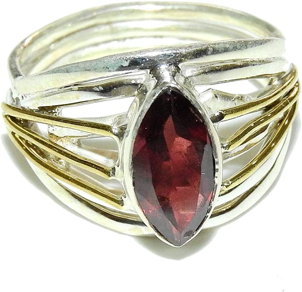 Sterling Silver and Fire Red Garnet Ring Size 8.5