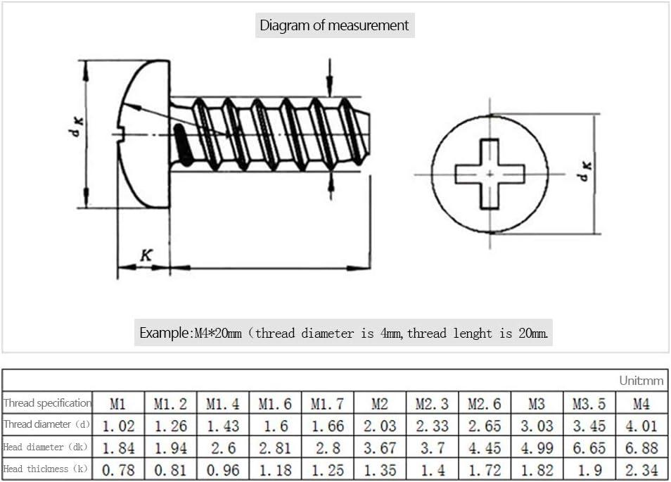 100PCS Argent M2 M2.3 M2.6 Multifonctionnel Autoperceuse Vis Acier Inoxydable Ronde T/ête Vis 100PCS DAZISEN Autotaraudeuse Vis M2.6 * 6