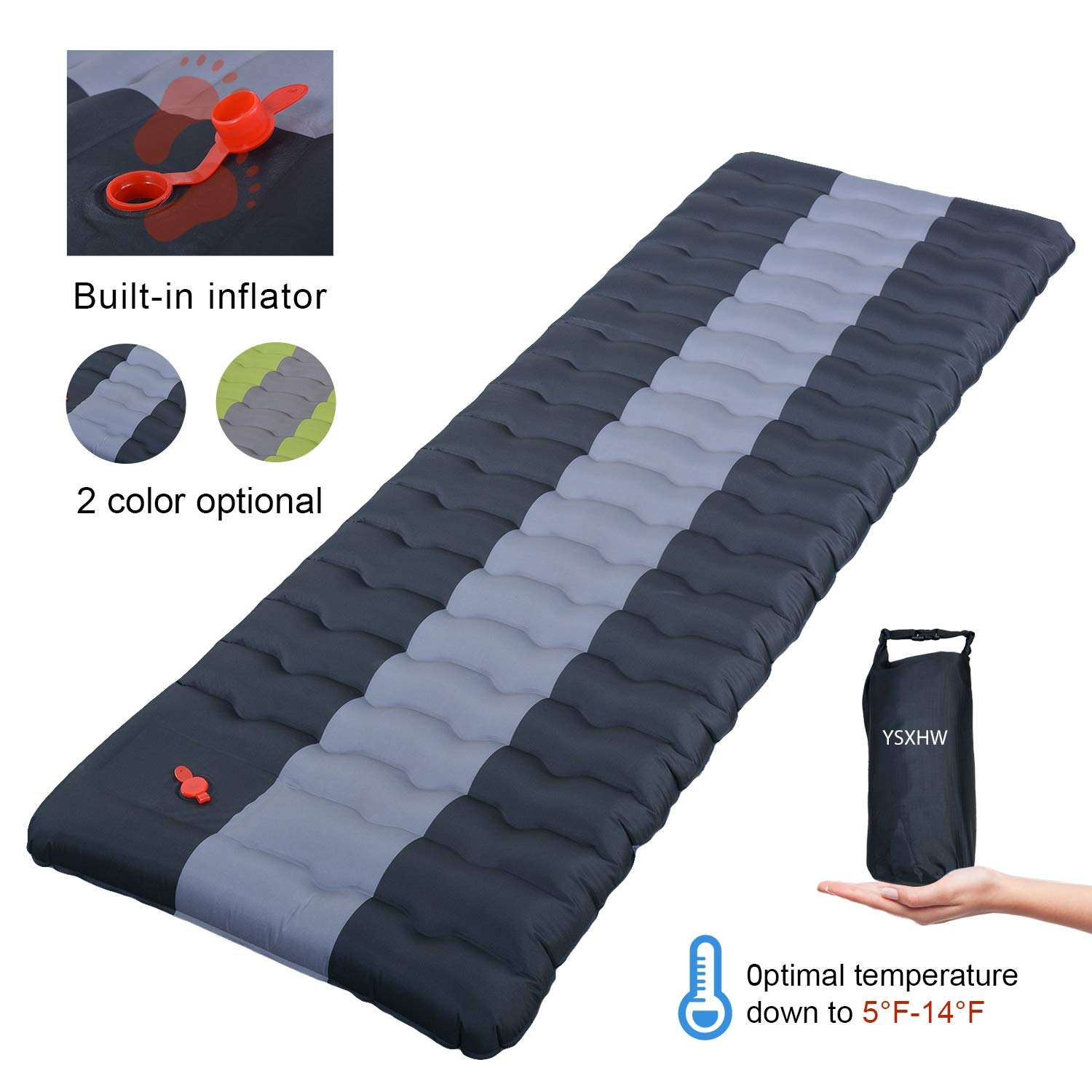 YSXHW Self Inflating Camping Pads Thick 4.7 Inch Lightweight Camping Sleeping Pad Ultralight,Compact, Waterproof PVC Inflatable Mat for Tent, Hiking and Backpacking -Black Built in Pump by YSXHW