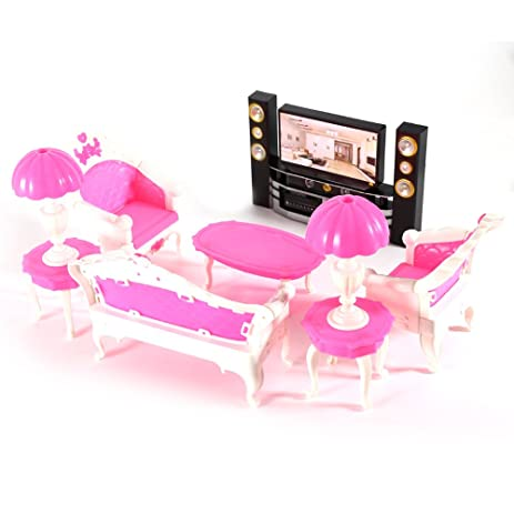 Amazon.com: 7Pcs Deluxe Barbie Dolls Living Room Furniture Sofe+ ...