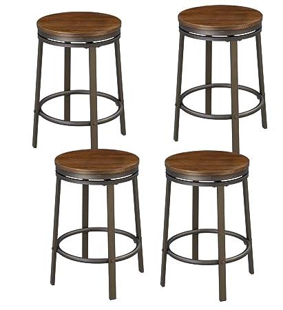 Beau Ou0026K Furniture 360 Degree Swivel Bar Stool, Round Wood Seat Bar With Metal  Frame,