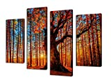 Sunset Woods Forest Painting Pictures Canvas Prints Framed Ready to Hang – 4 Panels Large Red Trees Sunshine Landscape Painting Giclee Art Work Modern Wall Decor for Office and Home Living Room Bedroom Decoration Picture