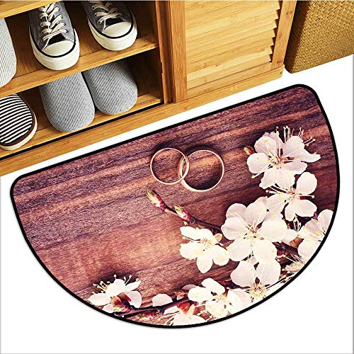 (Axbkl Thin Door mat Wedding Celebration Flowering Branch Delicate Rings on Wooden Surface Rustic Effect Anti-Fading W36 xL24 Brown White Gold)