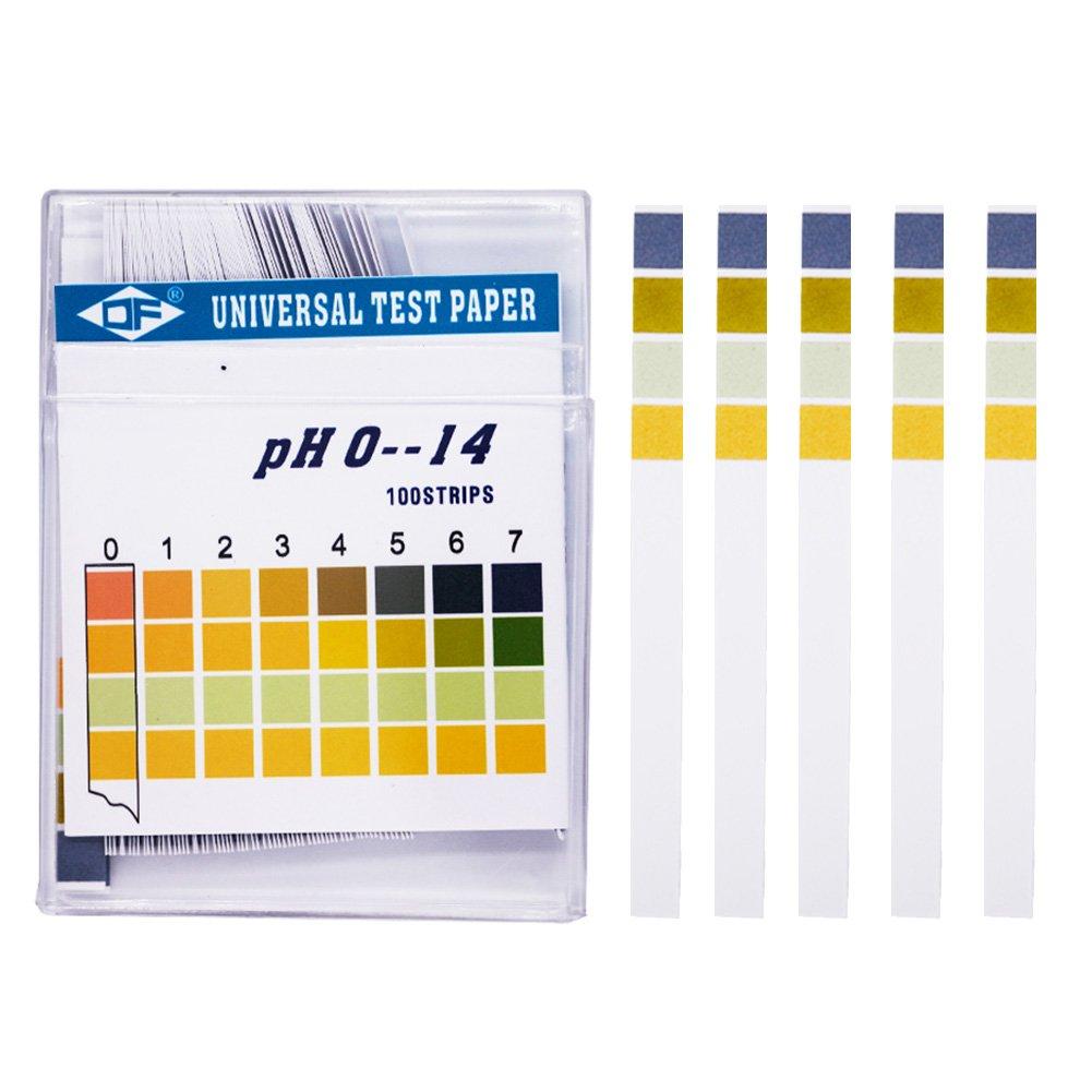 100 Tiras de Prueba de PH, Kit de Papel de Prueba Universal PH 0 - 14 para Pruebas de orina de Agua, Saliva, Suelo, Alimentos, acuarios, estanques Diarios: ...