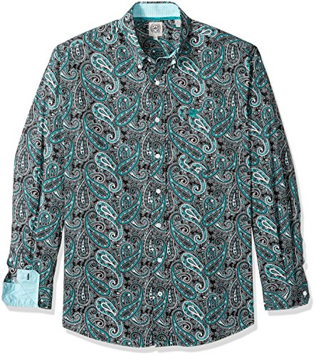 Cinch Men's Classic Fit Long Sleeve Button One Open Pocket Print Shirt, Teal Paisley, M