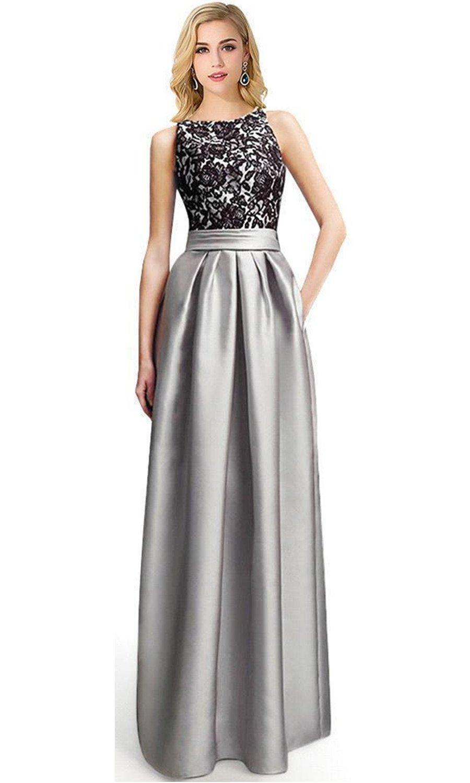 Babyonline 2016 Latest design O-neck Sliver satin black lace top bridesmaid Dress