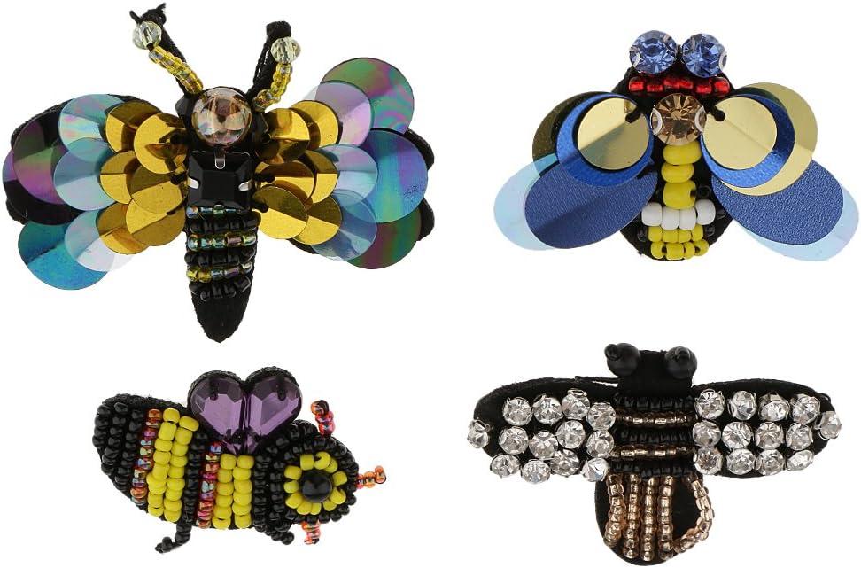 MagiDeal 4 Piezas Parches de Forma Libélula + Abeja Aplique para Ropa de Muñecas Zapatos Sombrero Hermoso Diseño Proyectos de Costura: Amazon.es: Hogar