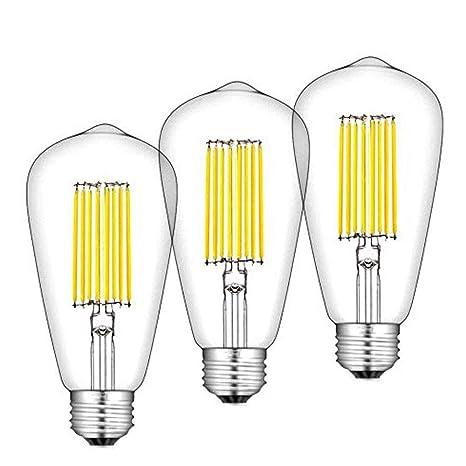 Bonlux 12W ST64 E27 LED Filamento Edison Bombilla De Luz Cálida 2700k 1300 Lúmenes Con Bajo Consumo, Larga Duración: Amazon.es: Iluminación
