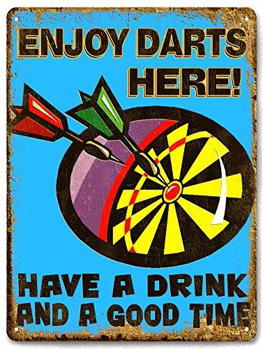 DART BOARD metal sign drinks / beer VINTAGE style bar pub mancave wall decor ()