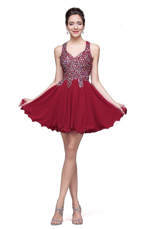 Babyonline® Damen Kurz Mini Mit Perlen Chiffon Cocktailkleid Abendkleid Abschlussballkleider