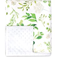 Toddler Blanket Green Leaves Minky Baby Blankets for Grils Double Layer Soft Crib Blanket 50 x 60 Inch Botanical