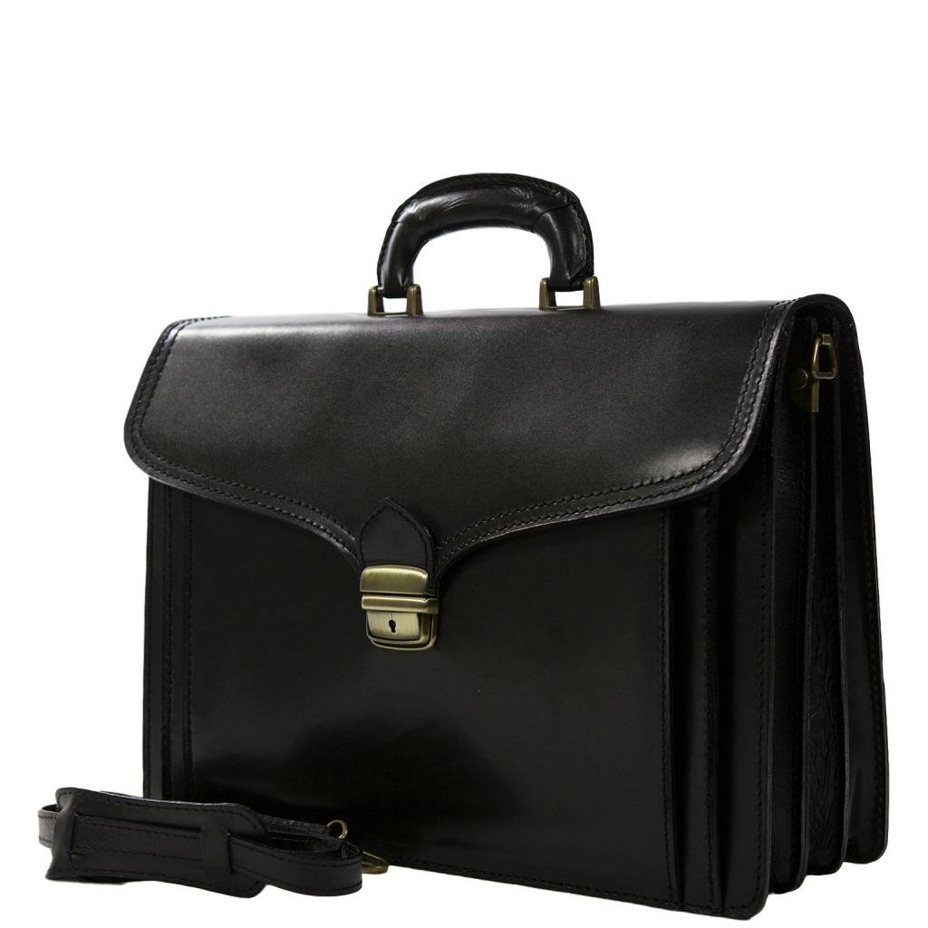 EXCLUSIVEイタリアレザーブリーフケース/ビジネスバッグ、Carelli Italia Foggiaブラック B01LWI8294