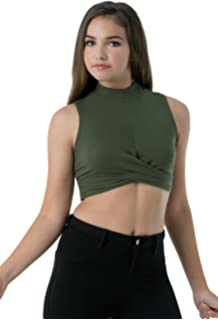 a6ce151afc Balera Top Womens Cropped Tank Girls Sleeveless Shirt For Dance With  Crossover Front and Mock Neck
