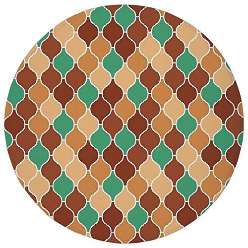 Round Rug Mat Carpet,Quatrefoil,Vintage Style Arabic Ornamental Figures Lattice Eastern Culture Pattern Artwork,Pink Blue,Flannel Microfiber Non-slip Soft Absorbent,for Kitchen Floor Bathroom Eastern Lattice