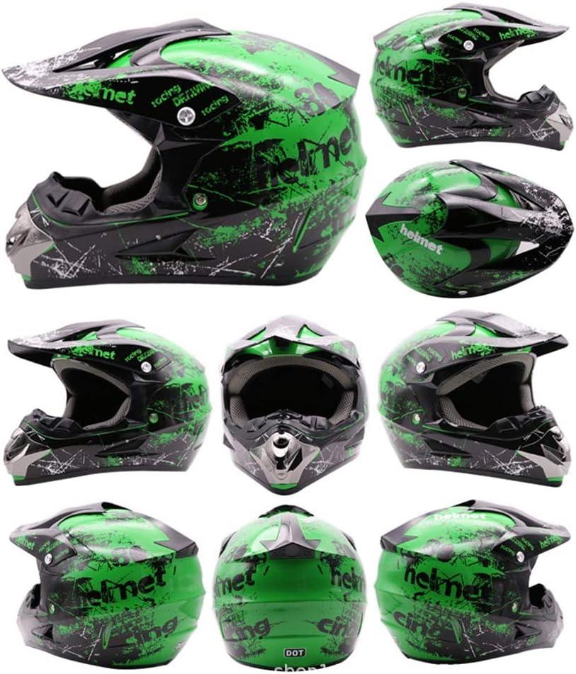 Kids Full Face Bike Helmet Motorcycle Crash MTB Helmets ATV for Youth Men Women Child Goggles//Gloves//Mask, 4Pcs Motocross Helmet Set