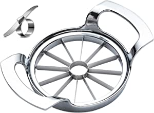 Extra Large Ultra Sharp Stainless Steel Apple Slicer 12 Slices - Easy to Use and Easy to Clean Apple Slicer Corer Cutter Heavy Duty - With Citrus Peeler Tool