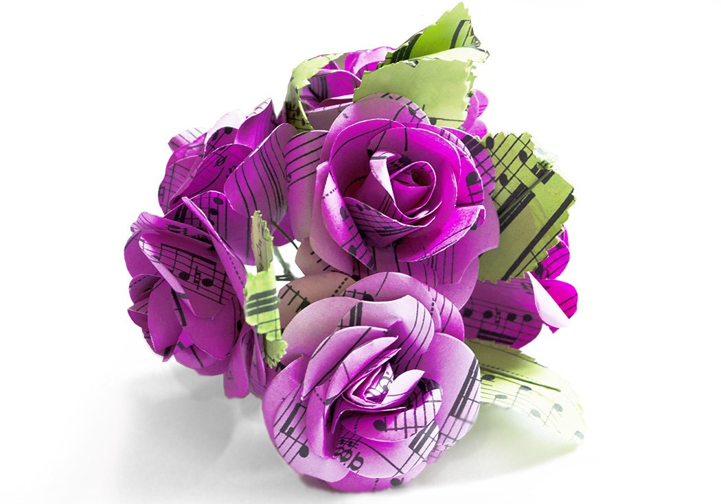 Scrappy Do Decorazione Rosa Musicale In Carta Con Pentagramma Extra Large Rosa Chiaro 8cm x 8cm