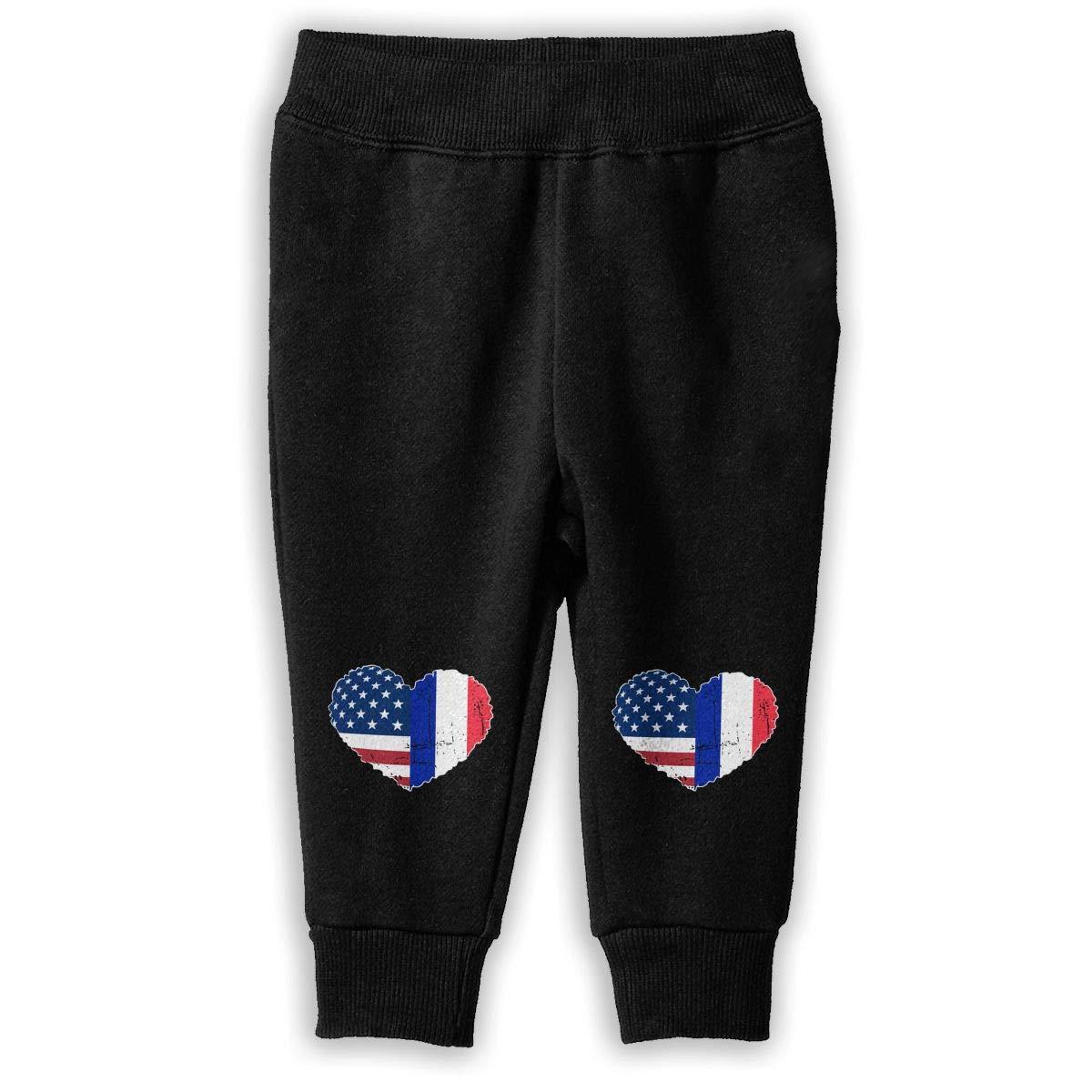 Toddler Training Pants NJKM5MJ France USA Flag Heart Sweatpants