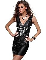Très sexy en cuir Faux / PVC Diamonte Robe Taille 38 avec String