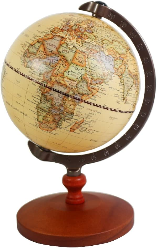 Vintage 5 inch Diameter Brown World Globe Antique Decorative Desktop Globe Rotating Earth Geography Globe Wooden Base Educational Globe Wedding School Children Gift (Brown with Wood Base)