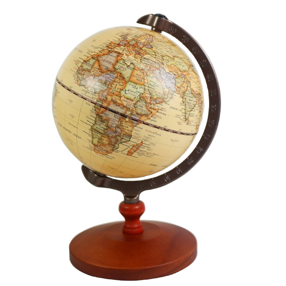 KiaoTime 5 inch Diameter BROWN Vintage World Globe Antique Decorative Desktop Globe Rotating Earth Geography Globe Wooden Base Educational Globe Wedding School Children GIFT (Brown with Wood Base)