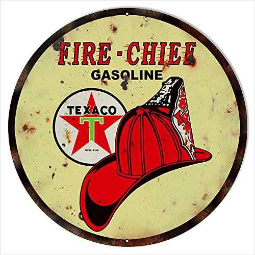 Large Reproduction Texaco Fire Chief Gasoline Sign 18 Round (Fire Chief Tin)