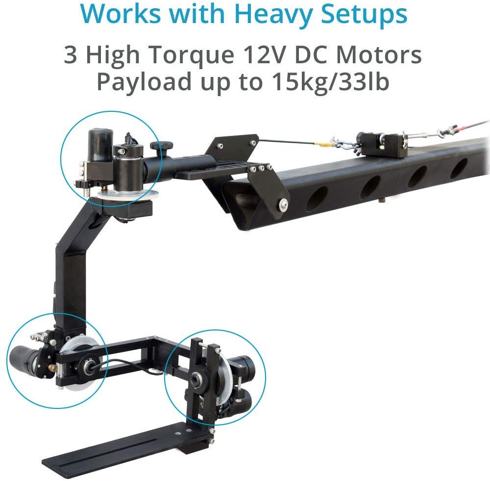 PROAIM Spin-3 (3-Axis) Motorized Dutch Roll 360° Pan Tilt Head for Video DSLR Cinema Camera Camcorders up to 15kg/33lb with Joystick Control System | for Jib Crane Tripod + Storage Bag (PT-Spin-3) by PROAIM