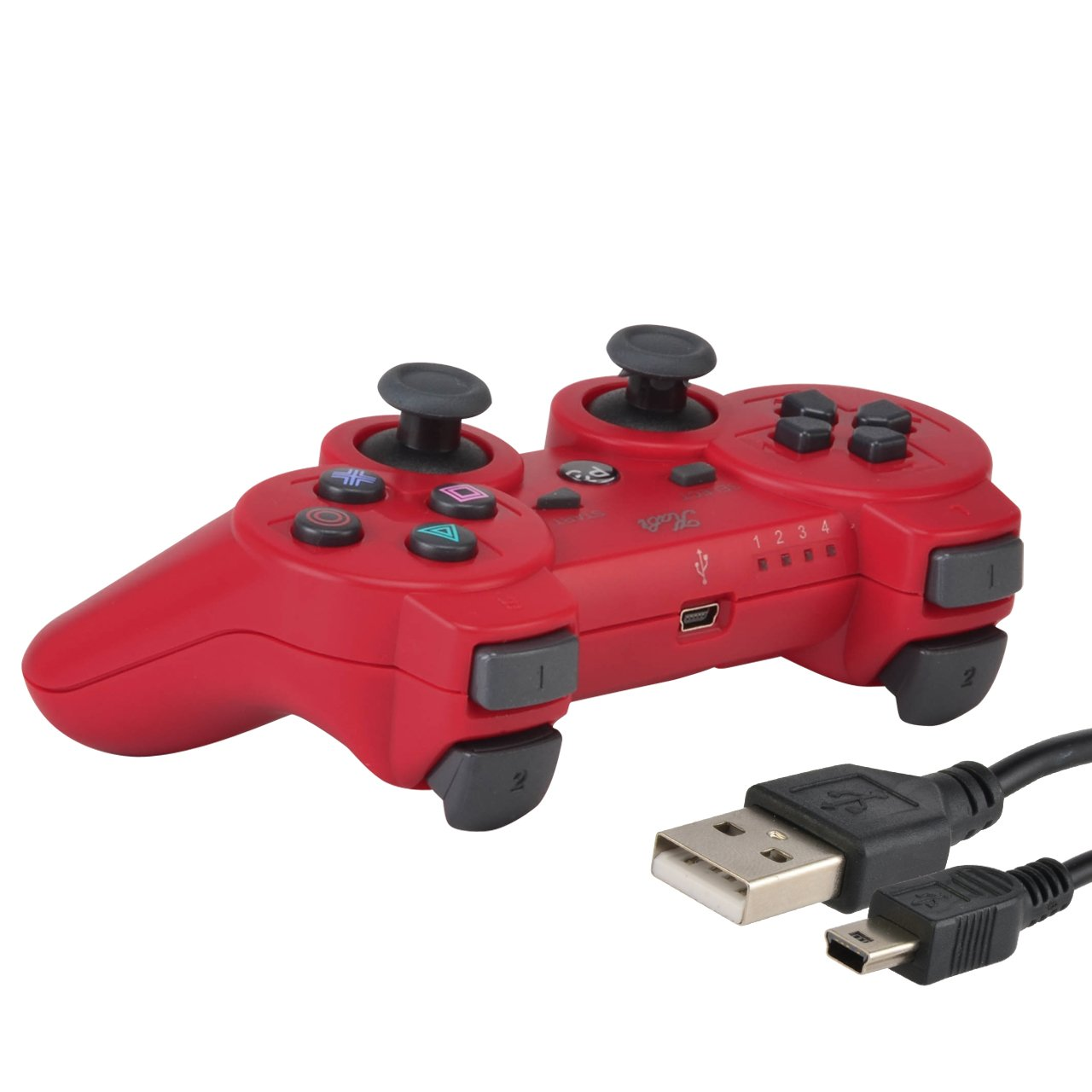 Mando inalámbrico de Kabi, Double Shock Game, 6 ejes, bluetooth, incluye cargador, para Play Station 3, rojo: Amazon.es: Deportes y aire libre